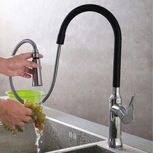 Kitchen Faucet Antique Brass Pull Out Single Handle Kitchen Sink Tap with Chrome Black
