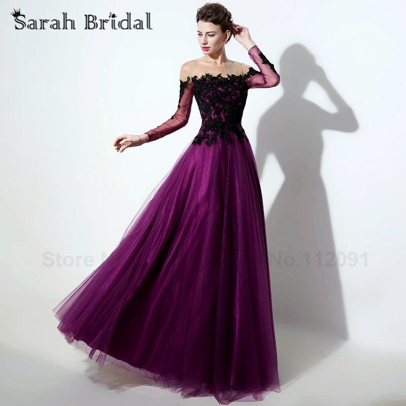 Black Lace Evening Dresses With Long Sleeves 2016 New Arrival Sexy Illusion Purple Tulle A line Evening Gowns vestidos de noche
