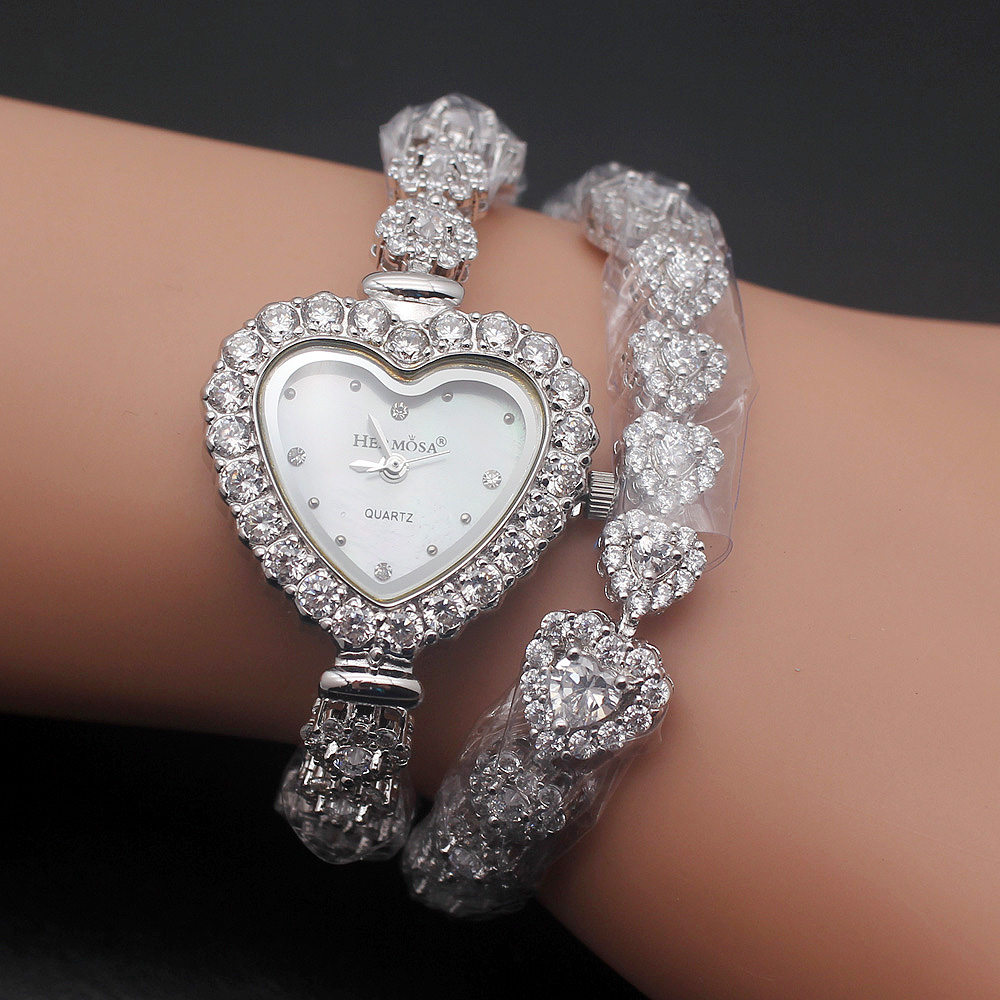 HERMOSA JEWELRY Real 925 sterling silver newest love design double strap watch love blessing 7''