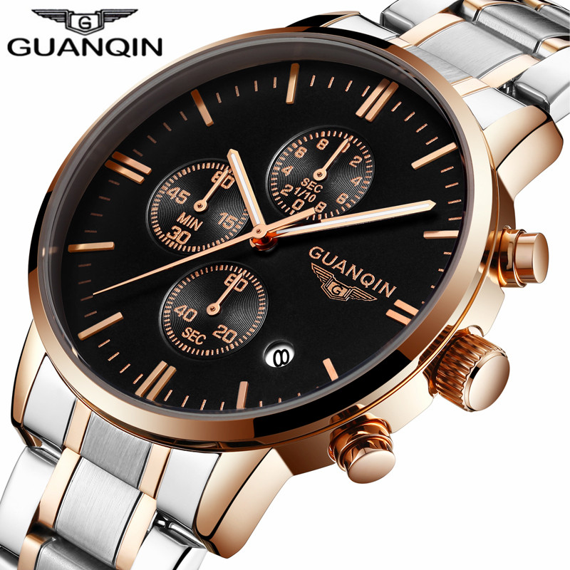 relogio masculino GUANQIN Mens Watches Top Brand Luxury Chronograph Luminous Quartz Clock Men Sport Stainless Steel Wrist Watch original guanqin men watches luminous luxury mens quartz watch sport leather male watches sapphire clock relogio masculino reloj