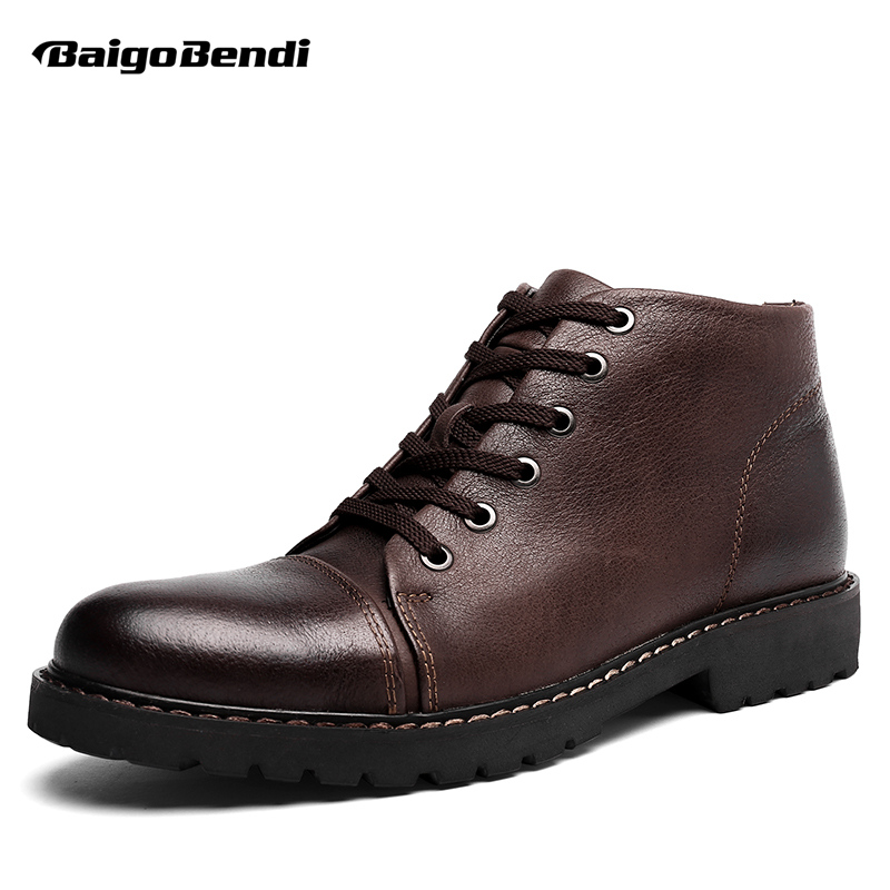 Top Genuine Leather Lace Up Military Warm Fur Snow Ankle Boots Mens Casual Office Winter Shoes Oxford us 6 10 mens black genuine leather lace up fur lined ankle boots winter warm oxford dress shoes