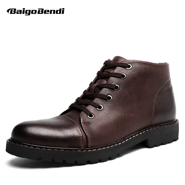 Top Genuine Leather Lace Up Military Warm Fur Snow Ankle Boots Mens Casual Office Winter Shoes