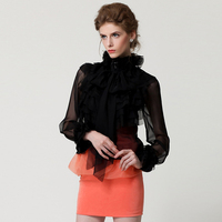 HIGH QUALITY New Fashion 2018 Designer Shirt Women's Long Sleeve Bow Cascading Ruffle Blouse Shirt Top