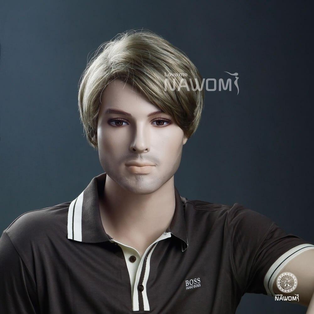 2014 Popular Handsome Men S Blonde Short Straight Hair Weave