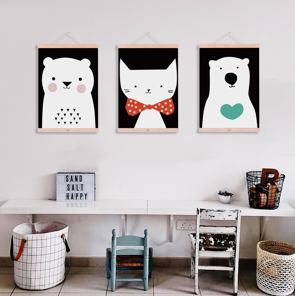 Moder cute animals bear cat wooden framed canvas painting for Cute home decor