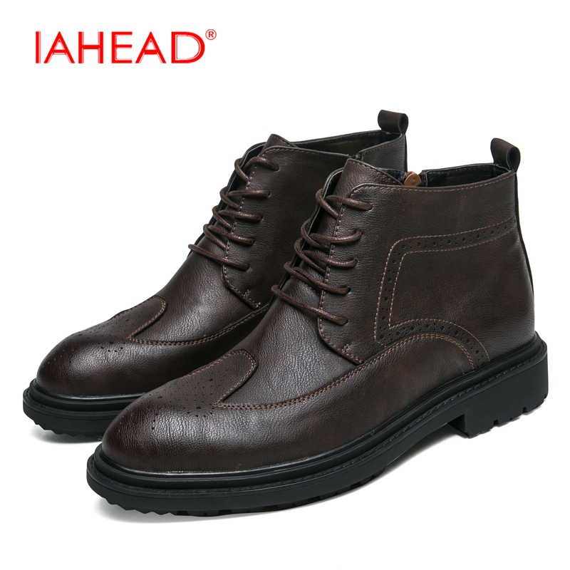IAHEAD Men Boots Men Chelsea Boots Winter Lace-Up Flats Casual Shoes Men Leather Ankle Boots chaussure homme de marque MH598 iahead men boots genuine leather flats new casual shoes lace up warm winter boots men plus size 38 48 rain shoes men mh586