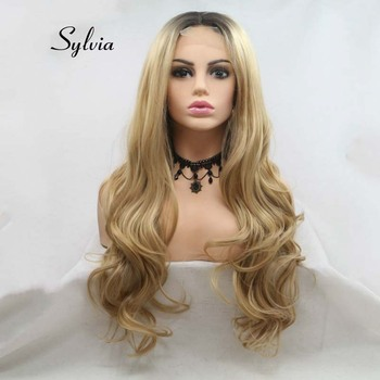 Sylvia Long Blonde Wavy Wig With Dark Roots Ombre Synthetic Lace Wig For Women Hair U Part Lace Wigs Heat Resistant Fiber Hair