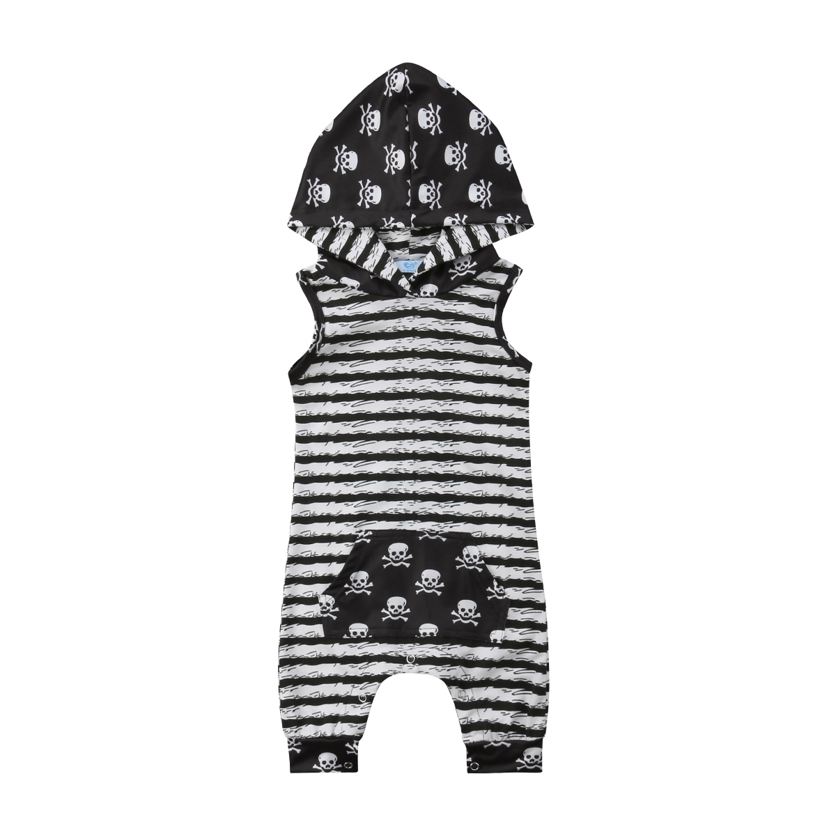Newborn Kid Baby Boys Skull Clothes Hooded Tops   Romper   Jumpsuit Outfits Newborn Baby Cotton Stripe Skull Sleeveless Summer