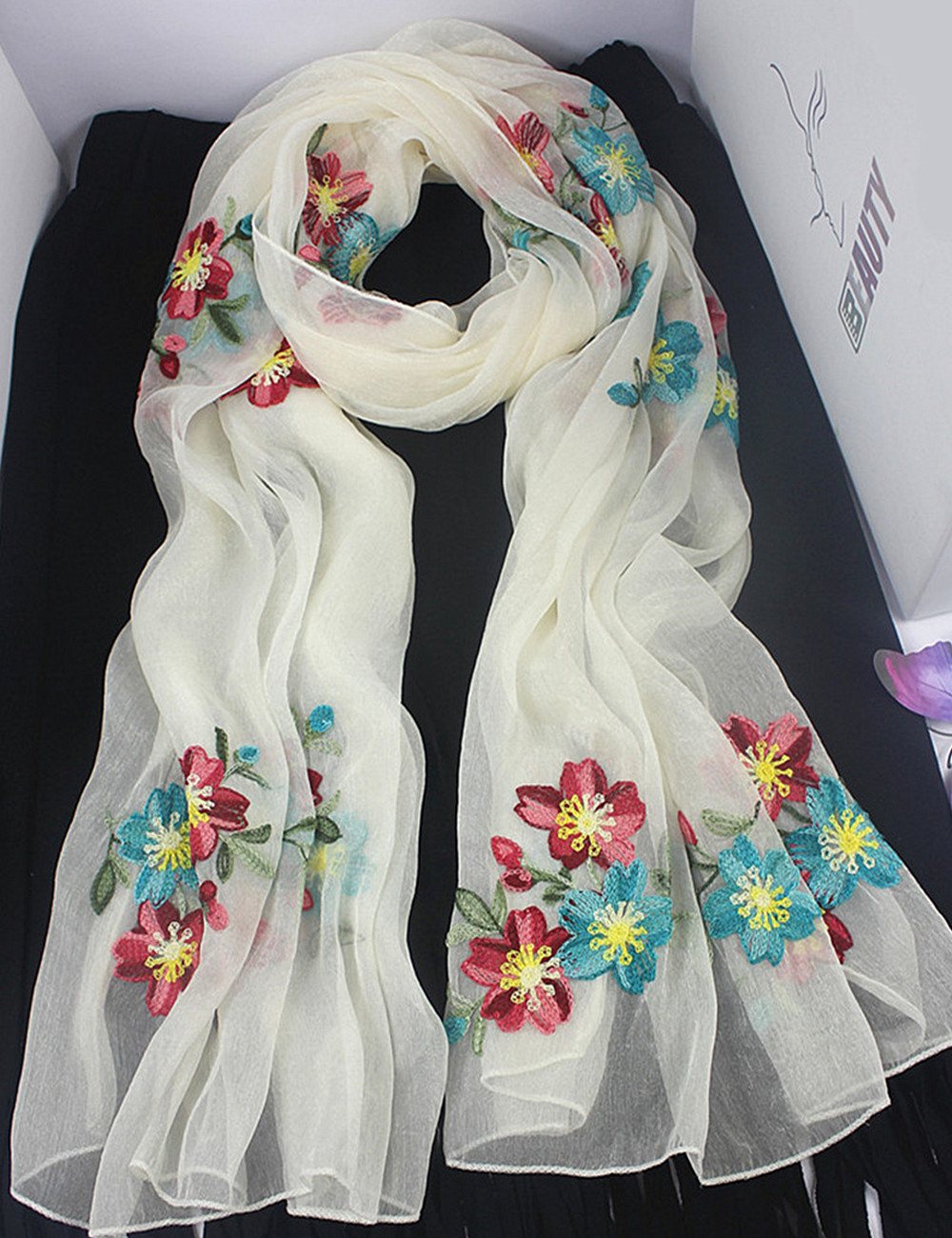 fashion 2018 women   scarf   embroidered flowers for ladies silk   scarves   shawl   wrap   hijab