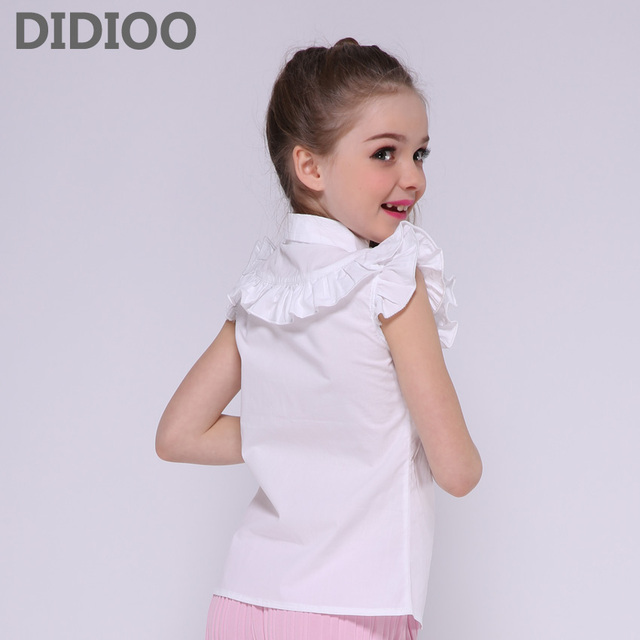 Girls White Blouses Cotton Short Sleeve Shirts For Students School Uniforms Turn-Down Collar Teenage Tops 4 6 8 9 10 12 14 Years