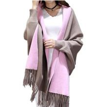 Bat Sleeve Faux Cashmere Sweater Cardigans for Women Winter Poncho Female Loose Coat Wool Ladys Sweaters Feminine Scarfs