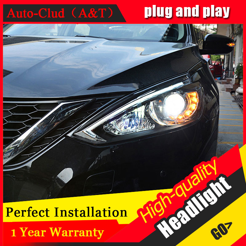 Auto Clud Car Styling For Nissan Sylphy Sentra headlights For Sentra head lamp led DRL front Bi-Xenon Lens Double Beam HID KIT auto clud style led head lamp for benz w163 ml320 ml280 ml350 ml430 led headlights signal led drl hid bi xenon lens low beam