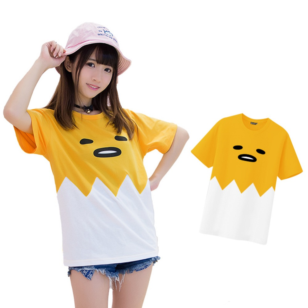 Japanese Anime Gudetama Shirt Cute Girls Short Sleeve Cotton O-neck T-shirt Cosplay