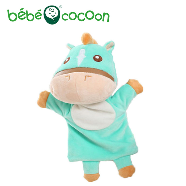 bebecocoon New Kids Lovely Animal Plush Hand Puppets Childhood Soft Horse Shape Story Pretend Playing Dolls Gift For Children