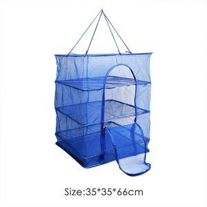 Image 4 - Pliable 4 couches filet de poisson séchage Rack pliant maille suspendus légumes vaisselle sèche linge cintre filet de pêche attirail