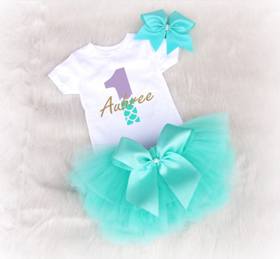 Personalize Little Mermaid Aqua Birthday Bodysuit Onepiece Creeper Shirt Smash Cake Tutu Dress Romper Outfit Sets Party Gifts In DIY Decorations From