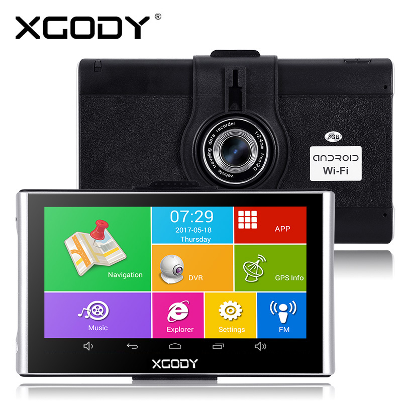 Xgody 7 tums Android Navigator Bil GPS Navigation Dvrs 512M + 8GB Med Wifi HD 1080p Dash Kamera Video Recorder Fm AVIN Dashcam