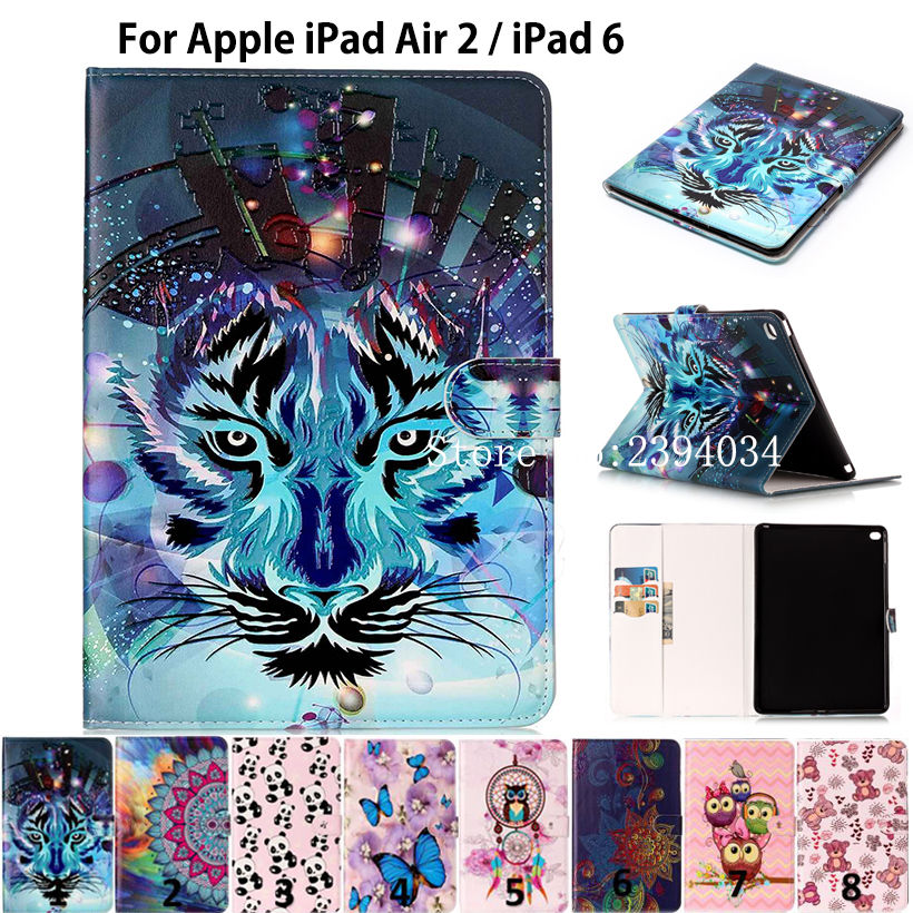 New Fashion Animal Print PU Leather For iPad Air 2 Case For Apple iPad Air 2 iPad 6 Smart Tablet Case Cover Funda Stand Shell ocube tri fold ultra slim tpu silicon back folio stand holder pu leather case cover for apple ipad 6 ipad air 2 9 7 tablet