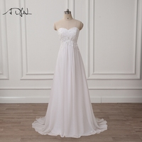 ADLN Chiffon Embroidery Empire Wedding Dresses White Ivory Robe De Mariage Cheap Bridal Gowns Vestidos De