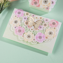 100pcs Laser Cut Wedding Invitations Card With Butterfly Flower Printable& Customized Engagement Birthday Party Supplies #CW6013