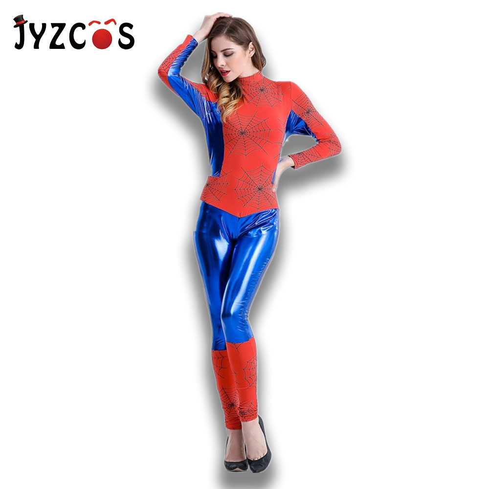 JYZCOS Sexy Spiderman Costume Bodysuit for Women Adult Halloween Carnival Spider Man Cosplay Costume Game Uniform Dancer Dress
