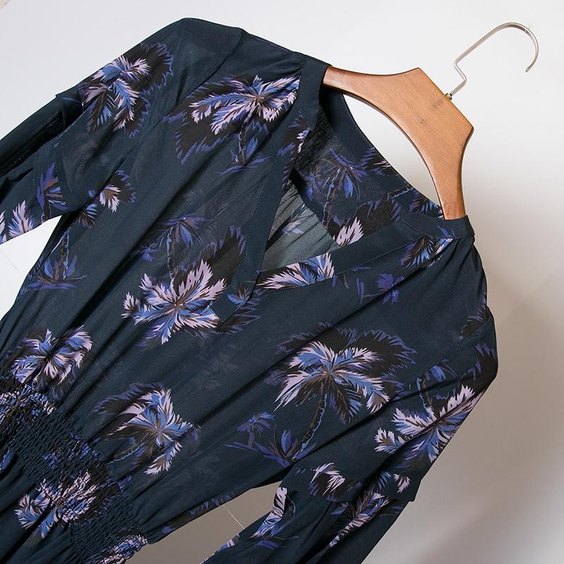 De rose Femme Soie marine Robe Taille Rose Courtes Haute Femmes Printemps 2019 Qualité Floral Pleine Mini Bleu Imprimé Manches Bleu Conception Élastique V qYwvH