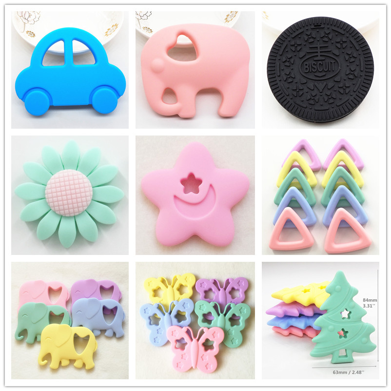 Chenkai 10pcs Silicone Car Teether Baby Cartoon Biscuit Oreo Cookie Teether DIY Elephant Butterfly Animal Teething Toy