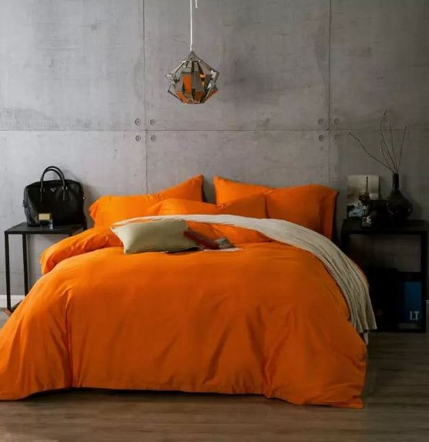 Nice Luxury Egyptian Cotton Bedding Sets Orange Bed Sheets Linen Bedspreads Quilt  Duvet Cover King Size Queen