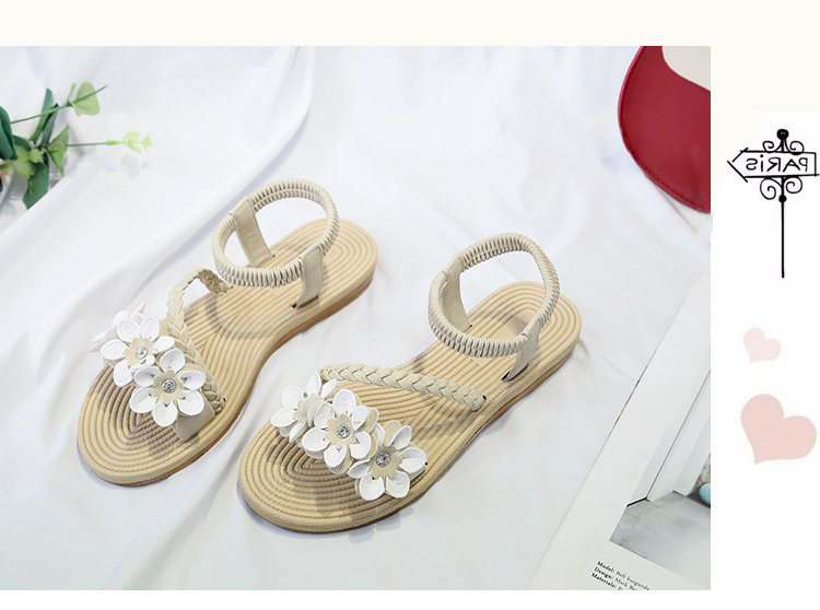 HTB1wTtwSQzoK1RjSZFlq6yi4VXaQ - Summer Shoes Woman Sandals Elastic ankle strap Flat Sandalias Mujer Flowers Gladiator Beach Sandals Ladies Flip Flops