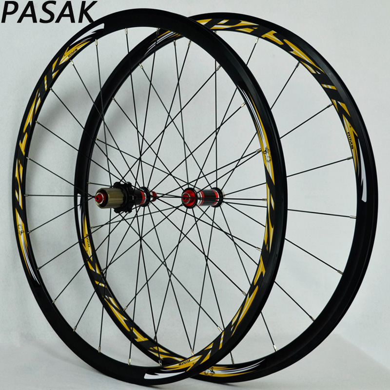 PASAK 700C carbon hub road bike bicycle wheel V/C Brake 30mm Rim wheelset 700cc wheels disc brake wheels road bicycle v c brake 30mm alloy rim 29inch cross country road bike silver frame light wheel