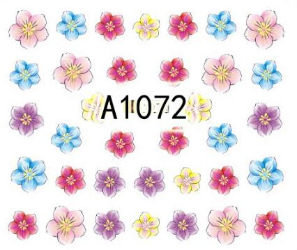 1sheet flower style Water Transfer Nail Stickers full wraps  Decals Art Tips Decoration Manicure Stickers 2016 2sheets manicure tips beauty purples oil printing 3d diy designs nail art water transfer stickers decals full cover xf1405