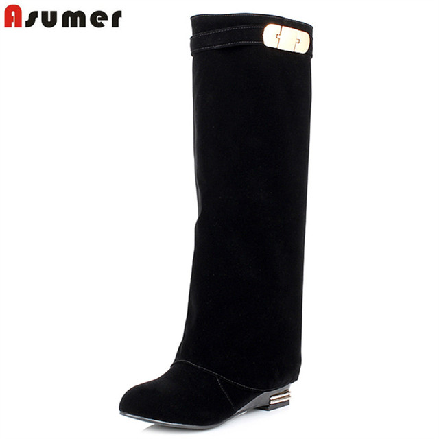 ASUMER New Plus size 34-43 HOT sale brand fashion women motorcycle boots leather wedges shoes woman autumn winter knee boots