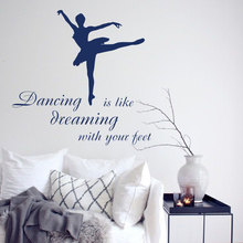 Ballet Studio Girls Dancer Wall Sticker Ballerina Beauty Home Decor Inspire Quotes Poster Vinyl Art Design Mural W539