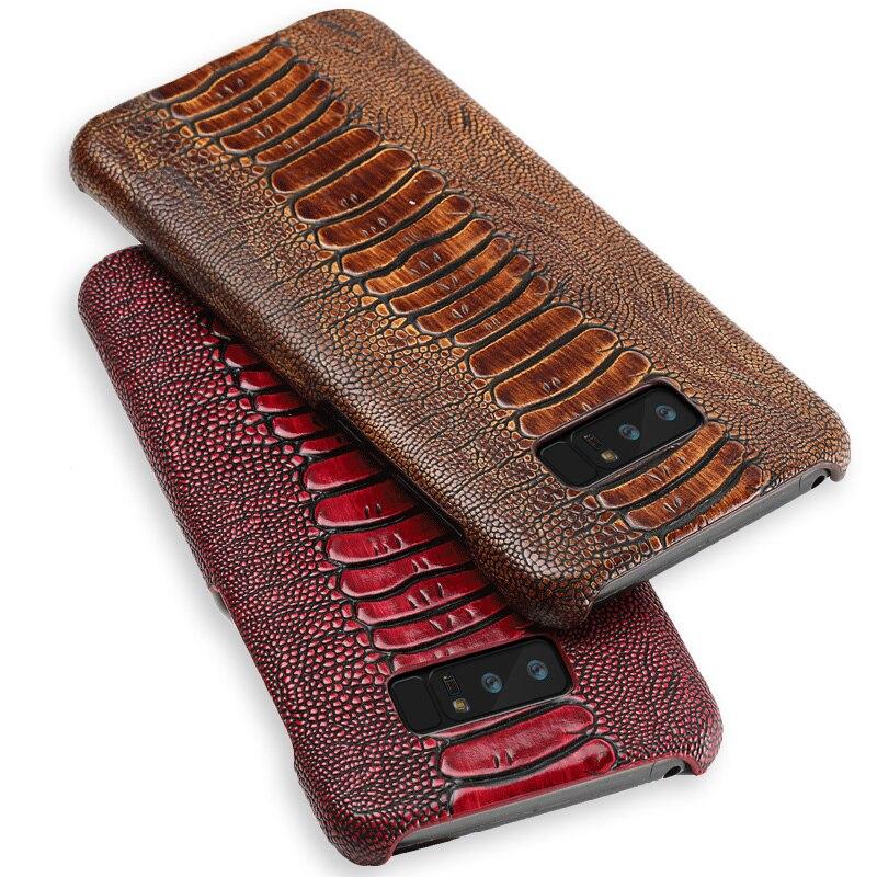 Cas de Téléphone En Cuir de luxe Pour Samsung Galaxy Note 8 9 S6 S7 Bord S8 S9 Plus D'autruche Pied Texture Couverture pour A5 A7 A8 J5 J7 2017