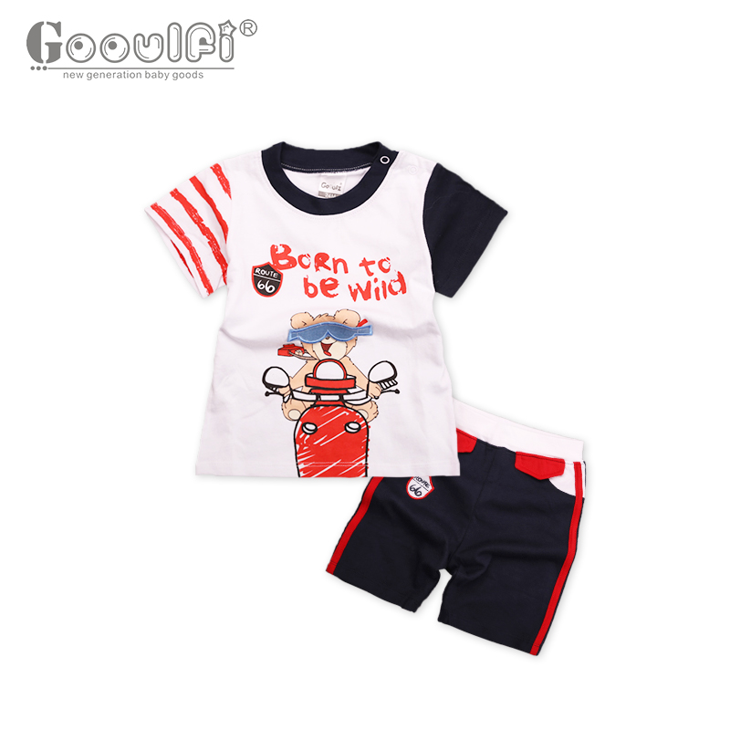 Gooulfi Direct Selling Print Navy Clothes Baby Boy Bear Riding with Letter Short Sleeves Pullover T-shirt Newborn Baby Boy Set