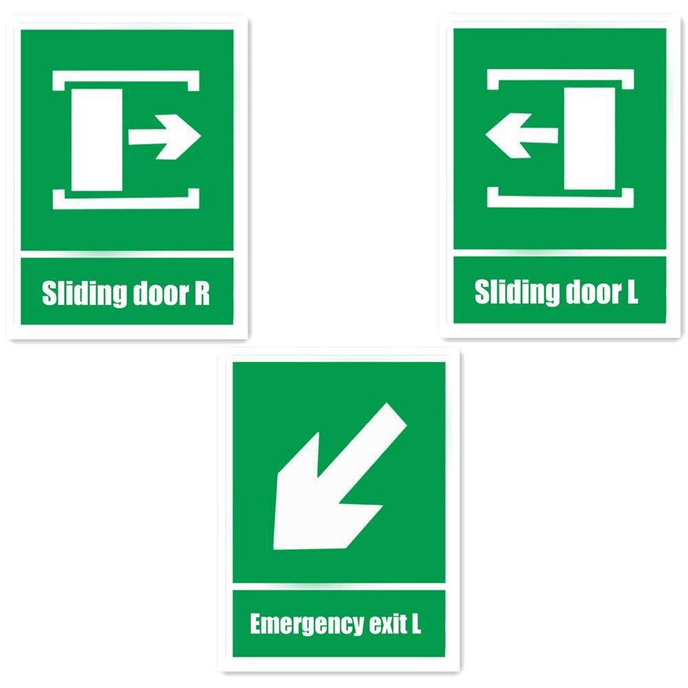 Раздвижные двери зеленый огненный знак самоклеящиеся Наклейки для стен предупреждение Детская безопасность знак Стикеры аварийный выход l...