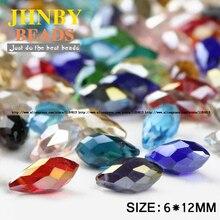 Pendant Waterdrop AAA Austrian crystal beads 6*12mm 50pcs Teardrop glass beads for jewelry making bracelet DIY