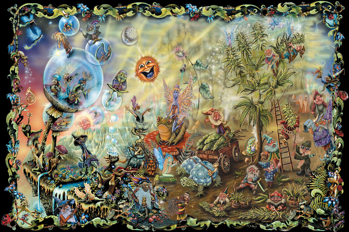 Psychédélique fées champignons magiques gnomes art dessin qr59 vivant chambre mur de la maison moderne art