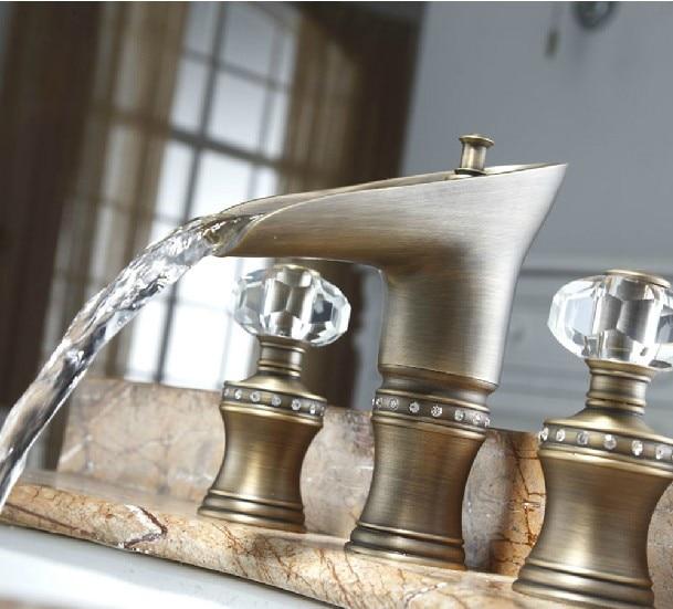 Free ship ROMAN SINK FAUCET BATHROOM MIXER TAP Widespread Basin Lav sink Faucet Waterfall Antique Mixer Tap crystal handles New antique brass widespread bathroom faucet 3pcs 8 sink mixer tap dual handles