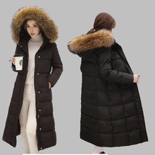 2017 Winter Women Jacket New Raccoon Fur Collar Hooded White Duck Down Jacket Long Warm Coat Large size Thick Down Jacket AB262