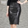 Estilo OL faldas de las mujeres negro de piel de oveja de cuero genuino delgado falda lápiz botón decoración faldas jupe saia etek LT1052 Envío gratis
