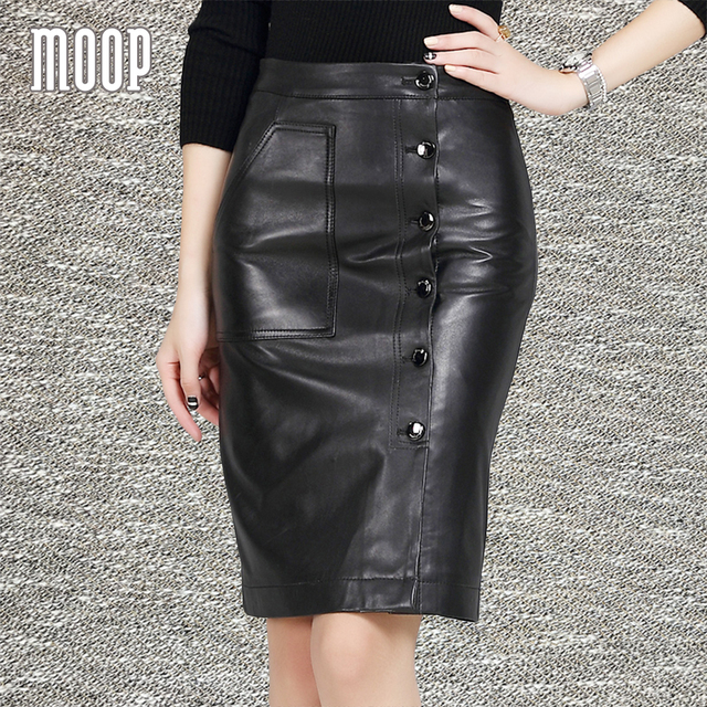 4385373154b2 OL style black sheepskin genuine leather skirts women slim pencil skirt  button decor faldas jupe saia etek LT1052 Free shipping