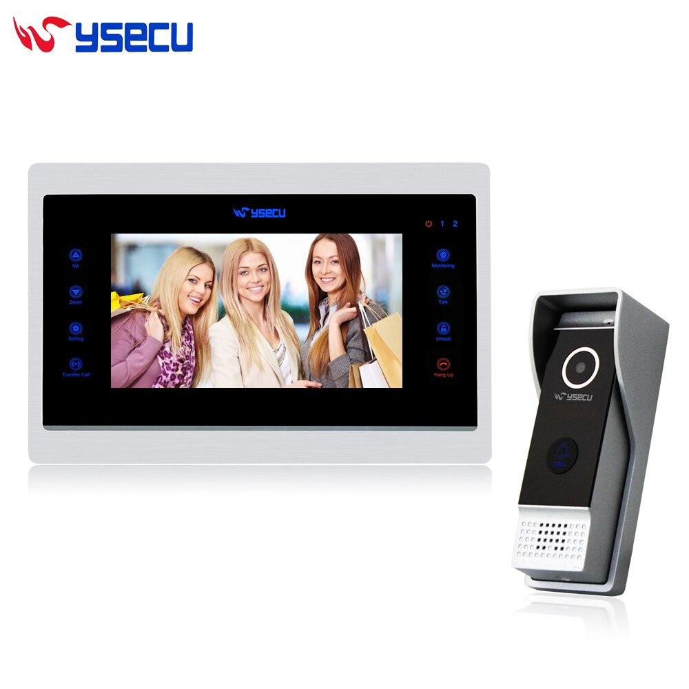 YSECU Upgrade 7 Inch Video Door Phone Wired  Doorbell Intercom System Recording 1200TVL Night Vision Outdoor Doorbell Camera