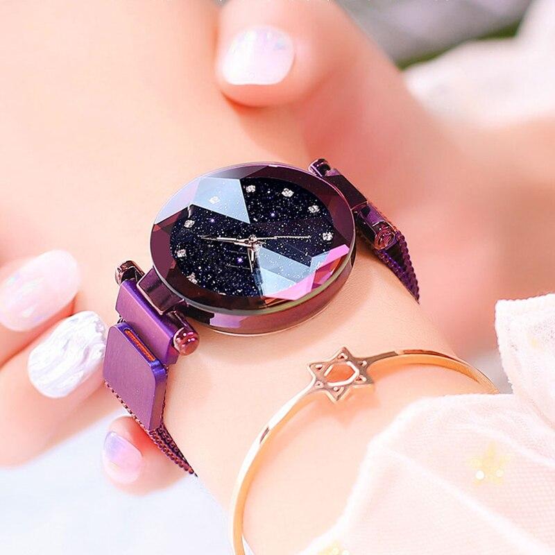 Maille d'acier inoxydable d'aimant de montre de dames de luxe avec la mode étoilée 2