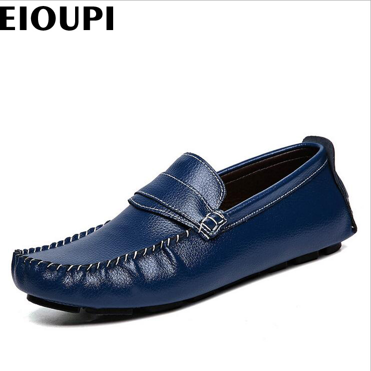 EIOUPI top quality new design genuine real cow leather mens fashion business casual shoe breathable men shoes lh3299 top brand high quality genuine leather casual men shoes cow suede comfortable loafers soft breathable shoes men flats warm