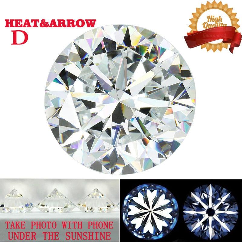 D Color Moissanite Loose Stone Round Brilliant Cut 1ct 3ct 5ct Whiite VVS1 Hearts Arrows Excellent Cut Lab Grown Diamond