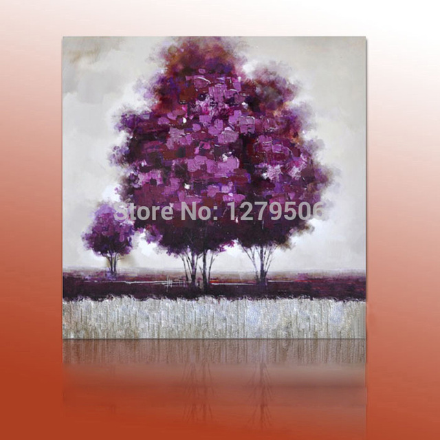 Modern Abstract Wall Art Hand Painted Purple Tree Landscape Oil ...