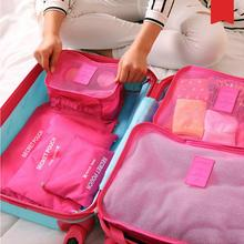 New 6pcs set Women Men Travel Bag Waterproof High Capacity Luggage Clothes Tidy Sorting Pouch Portable