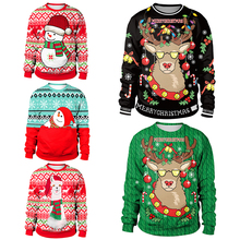 2019 Ugly Christmas Sweater For gift Santa Elf Funny Pullover Womens Mens Jerseys and Sweaters Tops Autumn Winter Clothing
