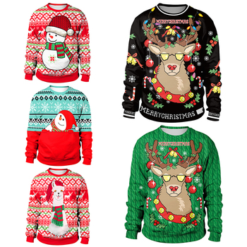 2020 Ugly Christmas Sweater For gift Santa Elf Funny Pullover Womens Mens Jerseys and Sweaters Tops Autumn Winter Clothing - discount item  48% OFF Sweaters